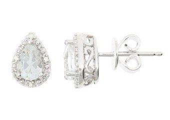 1 CARAT WHITE TOPAZ DIAMOND HALO STUD EARRINGS PEAR 6x4m SILVER APRIL BIRTHSTONE