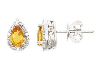 .72CT CITRINE DIAMOND HALO STUD EARRINGS PEAR 6x4mm SILVER NOVEMBER BIRTHSTONE