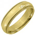 MENS WEDDING BAND ENGAGEMENT RING 14KT YELLOW GOLD HIGH GLOSS FINISH 5mm