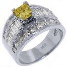 4 CARAT WOMENS FANCY YELLOW DIAMOND ENGAGEMENT RING PRINCESS CUT WHITE GOLD