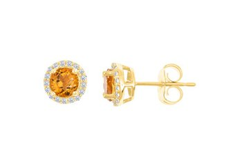 1.08 CARAT CITRINE & DIAMOND STUD HALO EARRINGS 7mm ROUND NOVEMBER BIRTH STONE