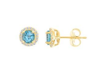 1.28 CARAT BLUE TOPAZ & DIAMOND STUD HALO EARRINGS 7mm ROUND DEC BIRTH STONE