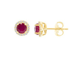1.36 CARAT RUBY & DIAMOND STUD HALO EARRINGS 7mm ROUND JULY BIRTH STONE