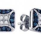 .50 CARAT BRILLIANT ROUND BLUE DIAMOND STUD EARRINGS WHITE GOLD