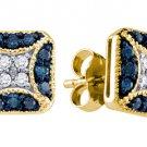 .50 CARAT BRILLIANT ROUND BLUE DIAMOND STUD EARRINGS YELLOW GOLD