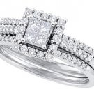 WOMENS DIAMOND ENGAGEMENT HALO RING WEDDING BAND BRIDAL SET INVISIBLE PRINCESS