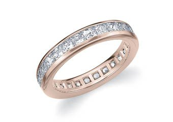DIAMOND ETERNITY BAND WEDDING RING PRINCESS SQUARE CUT 14K ROSE GOLD 2.00 CARATS