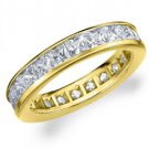DIAMOND ETERNITY BAND WEDDING RING PRINCESS SQUARE CUT 14K YELLOW GOLD 3 CARATS