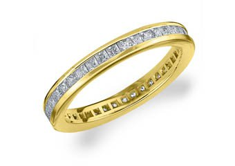 DIAMOND ETERNITY BAND WEDDING RING PRINCESS SQUARE CUT 14KT YELLOW GOLD 1 CARAT