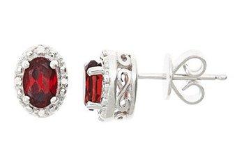 1.12CT GARNET DIAMOND HALO STUD EARRINGS OVAL 6x4mm SILVER JANUARY BIRTHSTONE