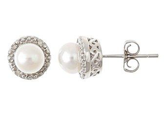 GENUINE PEARL & DIAMOND HALO STUD EARRINGS 6mm ROUND SILVER JUNE BIRTHSTONE