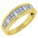 MENS 1.81 CARAT PRINCESS BAGUETTE CUT DIAMOND RING WEDDING BAND 14KT YELLOW GOLD