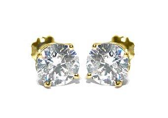 2 CARAT BRILLIANT ROUND CUT DIAMOND STUD EARRINGS 14K YELLOW GOLD SI3