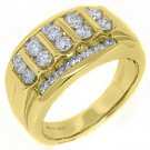 MENS 1.53 CARAT BRILLIANT ROUND CUT DIAMOND RING WEDDING BAND 14KT YELLOW GOLD