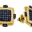 .40 CARAT MICRO-PAVE BLUE DIAMOND STUD EARRINGS 925 SILVER YELLOW