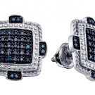 .40 CARAT MICRO-PAVE BLUE DIAMOND STUD EARRINGS 925 SILVER WHITE