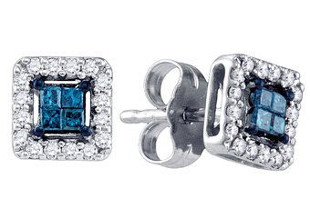 .26 CARAT SQUARE CUT INVISIBLE BLUE DIAMOND STUD HALO EARRINGS WHITE GOLD