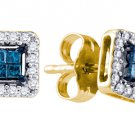 .26 CARAT SQUARE CUT INVISIBLE BLUE DIAMOND STUD HALO EARRINGS YELLOW GOLD