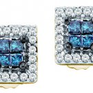 .33 CARAT SQUARE CUT INVISIBLE BLUE DIAMOND STUD HALO EARRINGS YELLOW GOLD