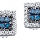 .33 CARAT SQUARE CUT INVISIBLE BLUE DIAMOND STUD HALO EARRINGS WHITE GOLD