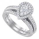 WOMENS DIAMOND ENGAGEMENT HALO RING WEDDING BAND BRIDAL SET PEAR CUT SHAPE