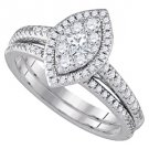 WOMENS DIAMOND ENGAGEMENT HALO RING WEDDING BAND BRIDAL SET MARQUISE CUT SHAPE