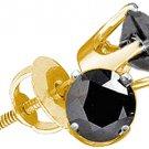 1 CARAT BRILLIANT ROUND BLACK DIAMOND STUD EARRINGS YELLOW GOLD