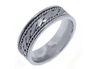 MENS WEDDING BAND ENGAGEMENT RING 14KT WHITE GOLD BRAIDED HIGH GLOSS 7mm