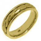 MENS WEDDING BAND ENGAGEMENT RING 14KT YELLOW GOLD BRAIDED FINISH 6mm