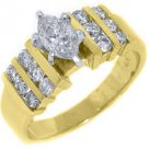 1.51 CARAT WOMENS DIAMOND ENGAGEMENT WEDDING RING MARQUISE ROUND CUT YELLOW GOLD