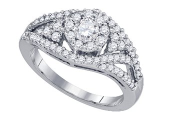 .99 CARAT WOMENS DIAMOND ENGAGEMENT RING BRILLIANT ROUND 14K WHITE GOLD