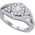 .99 CARAT WOMENS DIAMOND ENGAGEMENT RING BRILLIANT ROUND 14K WHITE GOLD