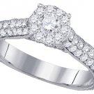 1.45 CARAT WOMENS DIAMOND ENGAGEMENT RING BRILLIANT ROUND 14K WHITE GOLD
