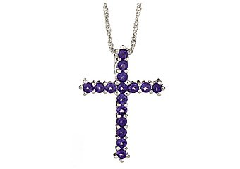 1.60 CARAT WOMENS AMETHYST CROSS PENDANT 925 STERLING SILVER