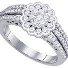 .96 CARAT WOMENS DIAMOND ENGAGEMENT FLOWER RING BRILLIANT ROUND 10K WHITE GOLD