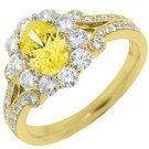 2 CARAT WOMENS FANCY YELLOW DIAMOND ENGAGEMENT HALO RING OVAL SHAPE YELLOW GOLD