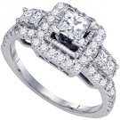 1.24 CARAT WOMENS DIAMOND ENGAGEMENT HALO RING PRINCESS SQUARE CUT WHITE GOLD
