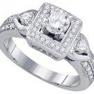 1 CARAT WOMENS DIAMOND ENGAGEMENT HALO RING BRILLIANT ROUND 14K WHITE GOLD