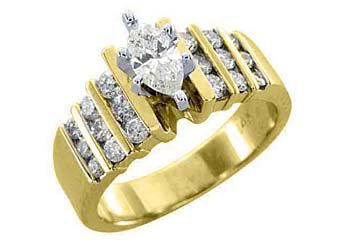 1.25 CARAT WOMENS DIAMOND ENGAGEMENT WEDDING RING MARQUISE ROUND CUT YELLOW GOLD