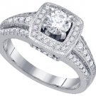 1 CARAT WOMENS DIAMOND ENGAGEMENT HALO RING BRILLIANT ROUND CUT WHITE GOLD