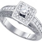 1.01 CARAT WOMENS DIAMOND ENGAGEMENT HALO RING BRILLIANT ROUND CUT WHITE GOLD