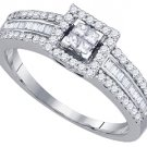 .54 CARAT WOMENS DIAMOND ENGAGEMENT HALO RING PRINCESS SQUARE CUT WHITE GOLD