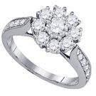 1.51 CARAT WOMENS DIAMOND ENGAGEMENT FLOWER RING BRILLIANT ROUND CUT WHITE GOLD