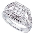 1 CARAT WOMENS DIAMOND ENGAGEMENT HALO RING PRINCESS SQUARE CUT WHITE GOLD