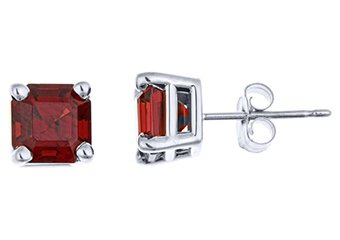 2.5 CARAT GARNET STUD EARRINGS 6mm ASSCHER 925 SILVER JANUARY BIRTH STONE