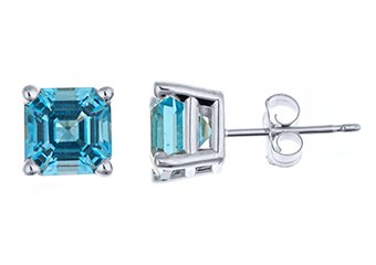 2.7 CARAT BLUE TOPAZ STUD EARRINGS 6mm ASSCHER 925 SILVER DECEMBER BIRTH STONE