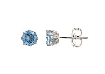 1.12CT BLUE TOPAZ STUD EARRINGS 5mm ROUND 925 SILVER DECEMBER BIRTH STONE