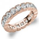 DIAMOND ETERNITY BAND WEDDING RING ROUND 14KT ROSE GOLD 3.00 CARAT BOX SETTING