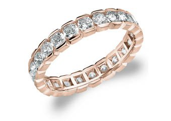 DIAMOND ETERNITY BAND WEDDING RING ROUND 14KT ROSE GOLD 1.50 CARAT BOX SETTING