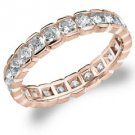 DIAMOND ETERNITY BAND WEDDING RING ROUND 14KT ROSE GOLD 1.50 CARAT BOX SETTING